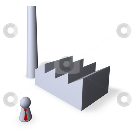 Industry stock photo, Play figure with nred tie and factory buildings by J?