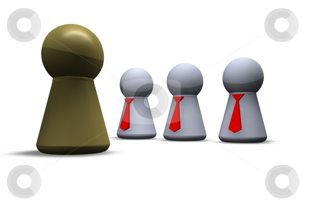 Boss and team stock photo, Play figures with red tie and one in gold by J?