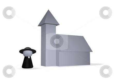 Holy stock photo, Play figure holy man and church by J?