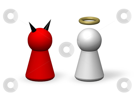 Wee and evil stock photo, Play figures - angel and devil by J?