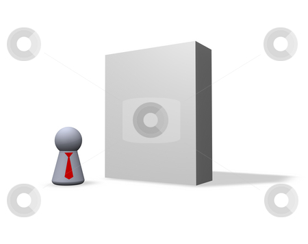 Blank software packing stock photo, Blank software packing and play figure with red tie by J?