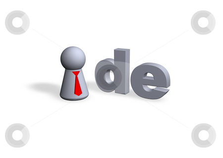 De domain stock photo, De text in 3d and play figure with red tie by J?