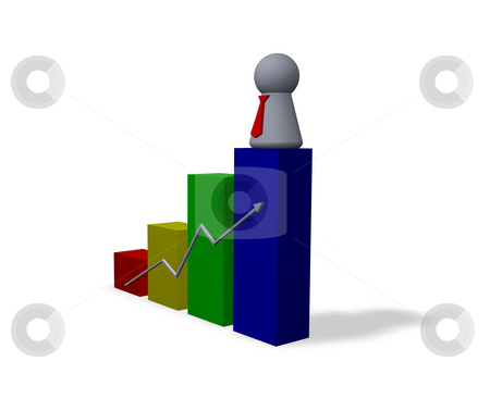 Success stock photo, Statistics diagram and play figure with red tie by J?