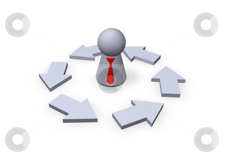 Business cycle stock photo, Play figure businessman with red tie and pointers by J?