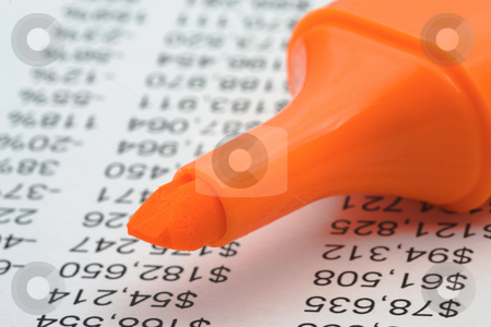 Financial report with marker stock photo, Financial data with orange marker. Close up by Gabriele Mesaglio