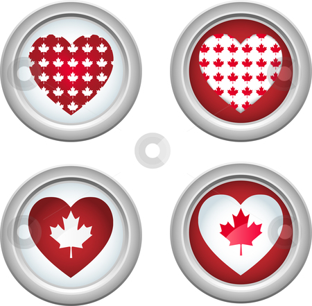 Canada Buttons3 stock vector clipart, Canada Buttons for 1st of July by Augusto Cabral Graphiste Rennes