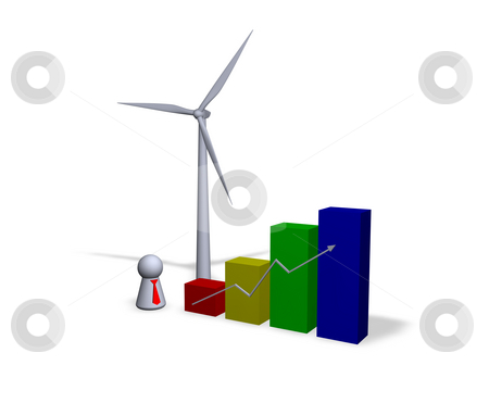 Wind energy statistics stock photo, Diagram, wind turbine and play figure with red tie by J?