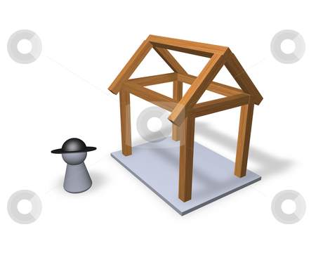 Carpenter stock photo, Play figure carpenter and  and wood bars for new building by J?