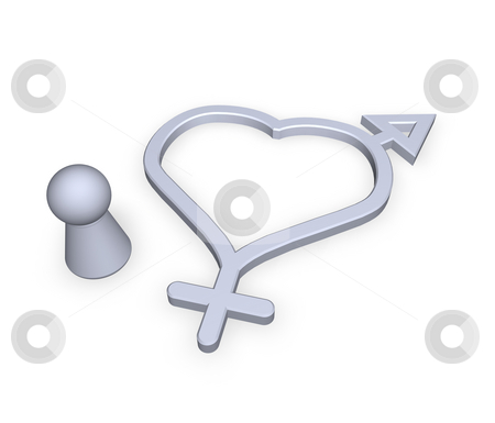 Hermaphrodites stock photo, Man - woman symbol and play figure by J?
