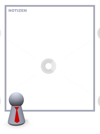 Notizen stock photo, Play figure with red tie and background for notes by J?