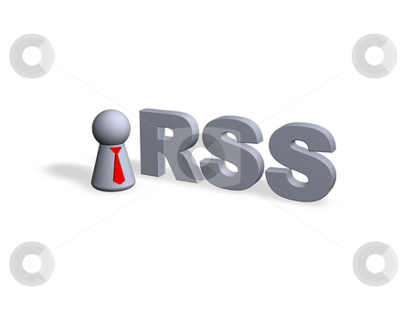 Rss stock photo, RSS text in 3d and play figure with red tie by J?