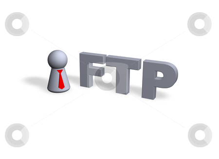 Ftp stock photo, Play figure with red tie and ftp text in 3d by J?