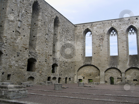 Ruins of St. Bridget's convent in Tallinn stock photo, St. Bridget's convent was once the largest convent of old Livonia. It was destroyed in the second half of the 16th century, and today only the western limestone gable and side walls remain standing by Alessandro Rizzolli