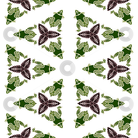 Frog batik pattern stock photo, Seamless texture with abstracted frogs in indian style by Wino Evertz