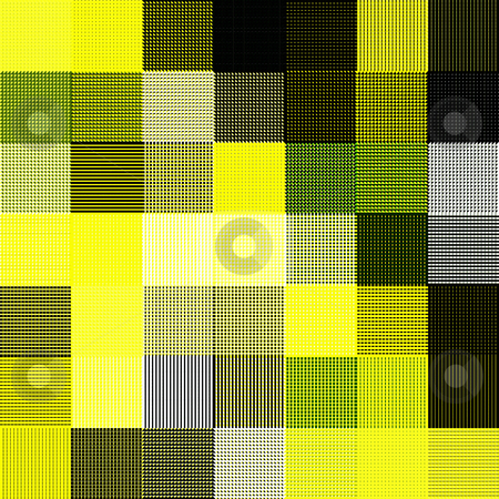Yellow rags pattern stock photo, Texture of intertwined square shapes with different textures by Wino Evertz