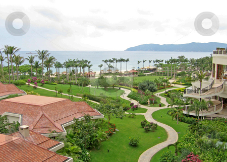 Tropical resort in the south china sea stock photo, Luxurious resort in yalong bay on the south china sea by Shi Liu