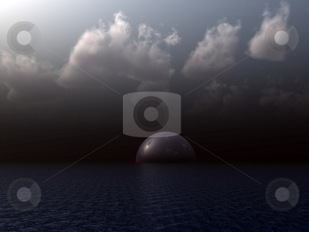 Dark stock photo, Glass dome at dark ocean - 3d illustration by J?