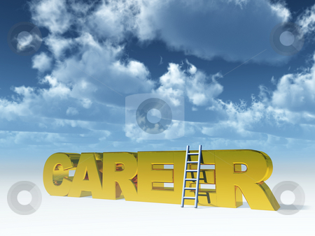 Career stock photo, The word career and a ladder in front of blue cloudy sky - 3d illustration by J?