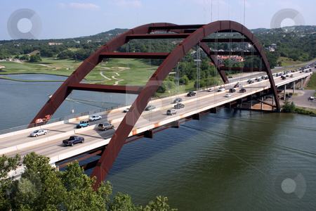 Austin 360 Bridge stock photo, A shot of the Austin 360 Bridge on a clear calm day.  This is a very pretty picture of the bridge and a great symbol of Austin, Texas. by Brandon Seidel