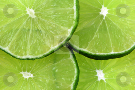 Isolated Lime Slices stock photo, A cut green lime isolated on a white background by Brandon Seidel