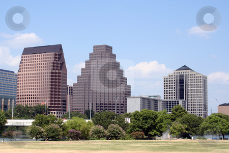 Downtown Austin, Texas stock photo, A very pretty day in Austin, Texas.  This shot was taken from across Town Lake downtown.  A very useful image for Austin related content. by Brandon Seidel