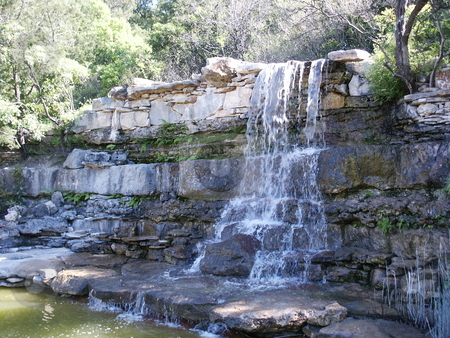 Austin Waterfall stock photo, A waterfall at Zilker Park in Austin, Texas. by Brandon Seidel