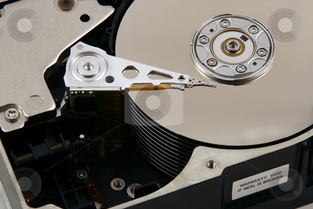 Inside a Computer Harddrive stock photo, Inside of a computer hard drive by Brandon Seidel