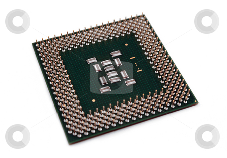 CPU Chip stock photo, A computer processor on a white background. by Brandon Seidel