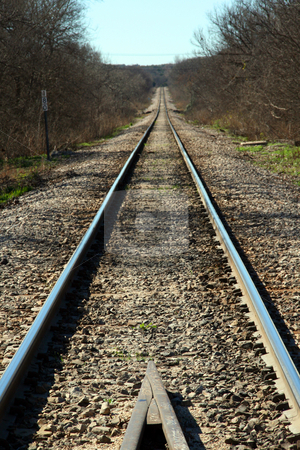 Railroad Tracks stock photo, A long straight railroad track by Brandon Seidel