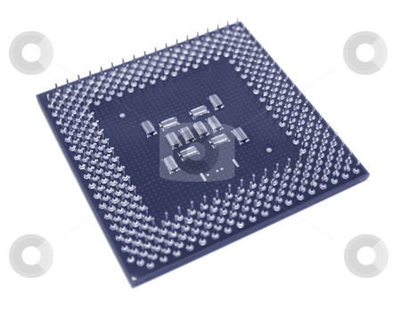 Blue CPU stock photo, A computer processor colored blue on a white background. by Brandon Seidel