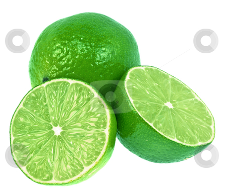 Green Limes stock photo, Two green limes. One is cut in half.  Very green and isolated on white. by Brandon Seidel