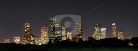 Downtown Houston Night Pano stock photo, A night panoramic of downtown houston by Brandon Seidel