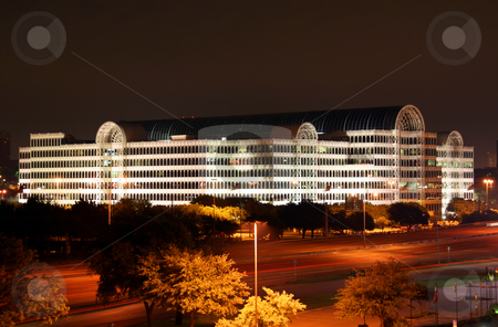 Dallas Texas Skyline at Night stock photo, A building in the Dallas Texas Skyline at night. by Brandon Seidel