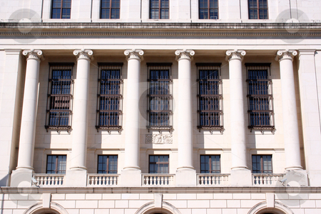 Columns on Federal Building stock photo, A historic federal building with large columns. by Brandon Seidel
