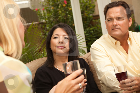 Three Friends Enjoying Wine on the Patio stock photo, Three Friends Enjoying Wine on an Outdoor Patio. by Andy Dean