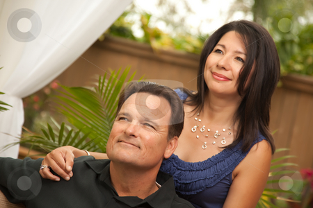 Attractive Hispanic and Caucasian Couple stock photo, Happy Attractive Hispanic and Caucasian Couple Portrait. by Andy Dean