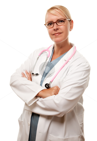 Friendly Female Blonde Doctor stock photo, Friendly Female Blonde Doctor Isolated on a White Background. by Andy Dean