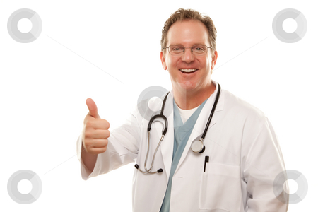 Male Doctor Giving the Thumbs Up Sign stock photo, Male Doctor Giving the Thumbs Up Sign with His Hand Isolated on a White Background. by Andy Dean