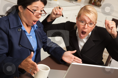 Businesswomen Celebrate Success on the Laptop stock photo, Businesswomen Celebrate Success on the Laptop in the Kitchen. by Andy Dean