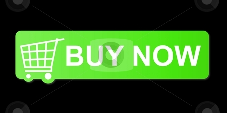 Buy Now Green stock photo, Buy now button with a shopping cart on black background. by Henrik Lehnerer