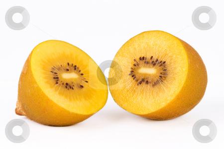 Golden kiwi fruit stock photo, Golden kiwi fruit on white background by Lawren