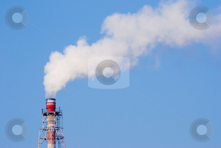 Industry chimney stock photo, Industry chimney with clear white smoke by Lawren