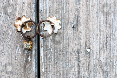 Old chinese door with doorknocker stock photo, Old chinese doorknocker and wooden textured door by Lawren