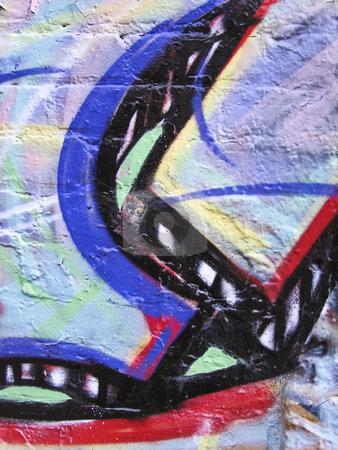 Multi color background stock photo, Multi color graffiti background on brick by Annette Davis