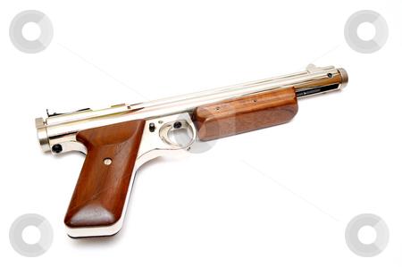 Chrome Airgun stock photo, A .177 caliber pellet gun also known as an airgun on a light colored bcakground. by Lynn Bendickson