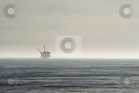 Oil industry stock photo, An offshore oil drilling platform, off the california coast by Stephen Gibson