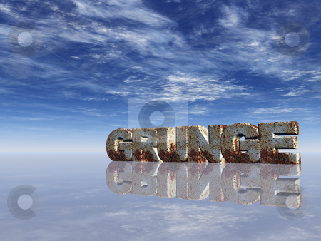 Grunge stock photo, The word grunge in rusty metal in frnt of blue sky - 3d illustration by J?