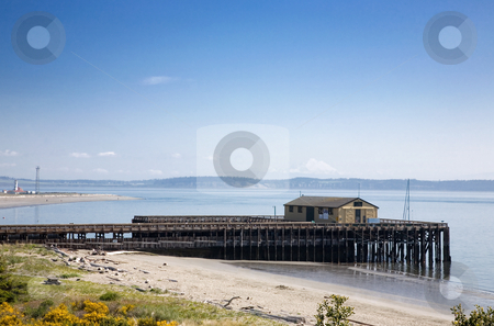 Fort Worden State Park stock photo, Pier at Fort Worden State Park in Port Townsend Washington. by Travis Manley