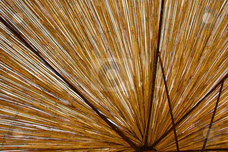 Straw umbrella texture stock photo, Yellow straw umbrella details background outdoor by Julija Sapic