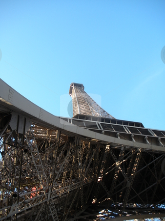 Eiffel Tower stock photo, Eiffel Tower from low angle with blue sky by Cora Reed
